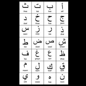 "Arabic Alphabet: A4 Black Arabic Notebook with Arabic Alphabet table, 8.5x11"", Blank lined wide ruled paper with right margin for right to left Arabic writing, perfect bound, Soft back"