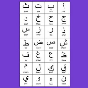 "Arabic Alphabet: A4 Purple Arabic Notebook with Arabic Alphabet table, 8.5x11"", Blank lined wide ruled paper with right margin for right to left Arabic writing, perfect bound, Soft back"