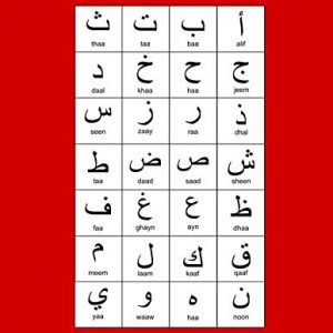 "Arabic Alphabet: A4 Red Arabic Notebook with Arabic Alphabet table, 8.5x11"", Blank lined wide ruled paper with right margin for right to left Arabic writing, perfect bound, Soft back"
