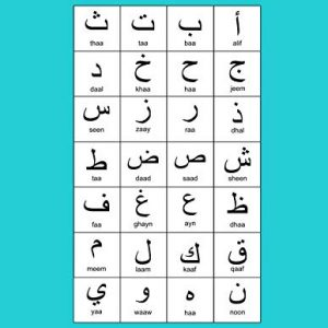 "Arabic Alphabet: A4 Turquoise Arabic Notebook with Arabic Alphabet table, 8.5x11"", Blank lined wide ruled paper with right margin for right to left Arabic writing, perfect bound, Soft back"