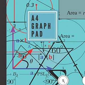 A4 graph pad: Maths paper and equipment - lined graph paper notebook