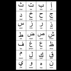 """Arabic Alphabet: A4 Black Arabic Notebook with Arabic Alphabet table, 8.5x11"""", Blank lined wide ruled paper with right margin for right to left Arabic writing, perfect bound, Soft back"""