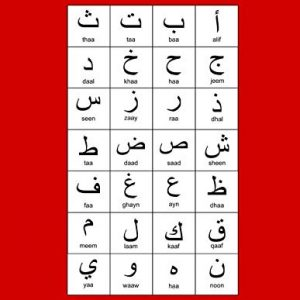 """Arabic Alphabet: A4 Red Arabic Notebook with Arabic Alphabet table, 8.5x11"""", Blank lined wide ruled paper with right margin for right to left Arabic writing, perfect bound, Soft back"""