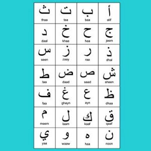 """Arabic Alphabet: A4 Turquoise Arabic Notebook with Arabic Alphabet table, 8.5x11"""", Blank lined wide ruled paper with right margin for right to left Arabic writing, perfect bound, Soft back"""