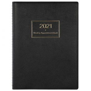 Appointment Diary 2021 with Times, 2021 Diary A4 Week to View Hourly Planner in 15 Minutes, 21.8 x 29 cm, Softcover Appointment Book with Ringbound - Black