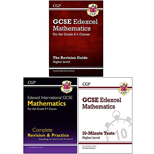 CGP GCSE Maths Revision Guide, Complete Revision & Practice, 10-Minute Tests Higher Grade 9-1 Collection 3 Books Set