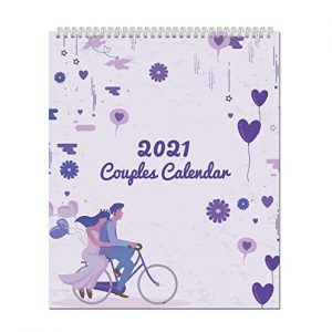 2021 Couples Calendar for 2 People - One Month to View Vintage Art by Arpan