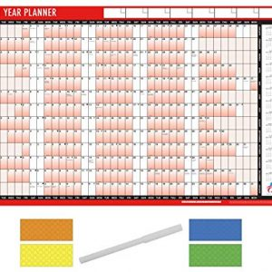 2021 Year Planner A1 Large Laminated Wall-Planner 85cm x 58cm with Dry Wipe Marker Pen & Sticker Dots Apothecary ltd