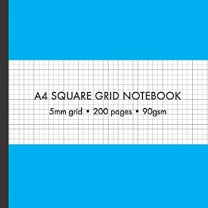 A4 5mm Square Grid Paper Bound Notebook 200 pages