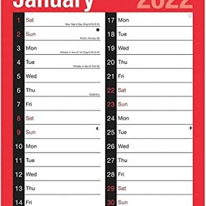 2022 Calendar A4 Large 2 Column Month to View Spiral Bound Wall Planner for Home Business Office School 1 January 2022 to 31 December 2022