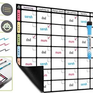 A3 Magnetic Dry Wipe Chore Chart Whiteboard *Colour Version* - Weekly Task/Family Organiser Board by Plan Smart - Bonus: 3 Quality Dry Erase Markers with Eraser Included