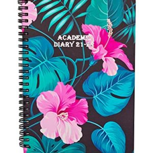 Academic Diary 2021-2022 Week To View A5 Mid Year Diary Weekly Planner Address Book Appointments by EJRange Spiral Bound from Aug 2021 till Jul 2022-Tropical Flower
