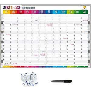 Wall planner 2021-2022 from July '21 – June '22.   Mid year, Academic wall planner organiser.   A1 Size (85x59 cm) Laminated.   planners4winners